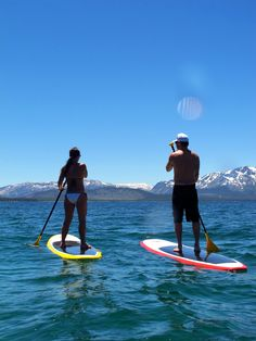 Paddle boarding near Secret Cove, Lake Tahoe