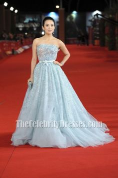 Zhang Ziyi In Blue Christian Dior dress Rome film festival Premiere Red Carpet Dresses - TheCelebrityDresses