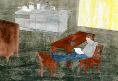 Reading by Yuki Kitazumi Walter Sickert, Outsider Art, Caricature, My Images, Paper Cutting, Illustrators, Mystic, Something To Do, Folk