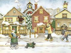 Christmas Story Book : Home for the Holidays ~ artist: Debbie Mumm ~ Polar Christmas ~ Homes in Winter