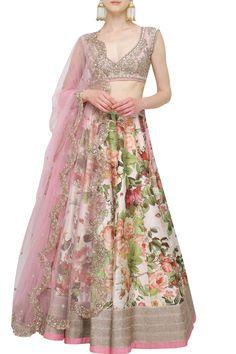 Printed lehenga with light pink satin blouse set|Lehenga|Anushree Reddy|Aashniandco.com