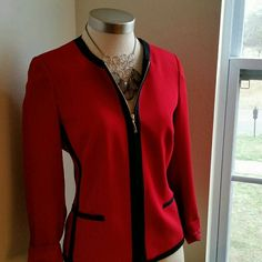 NYGARD COLLECTION ..STUNNING ..RED BLAZER EXCELLENT CONDITION. . .......LIKE NEW.. .......NO FLAWS. .......STUNNING.. .......true to its size and color .......can be used as gardigan , sweater  ,Blazer, .......SIZE 4 COULD FIT ..SIZE 6..AS WELL .......2 PIC up close design red / black stripe. .......zipper on front .......DECO..pockets on front .......MTRL...70% triacetate. 30% polyester  .......better in person NYGARD COLLECTION  Jackets & Coats Blazers