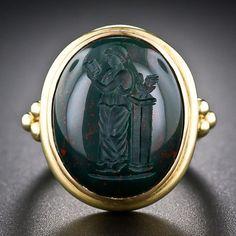 Bloodstone Intaglio Ring by Elizabeth Locke - 30-1-5111 - Lang Antiques