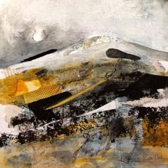 Patricia Sadler(Scottish) Snow on Border Hills    Mixed media on paper via