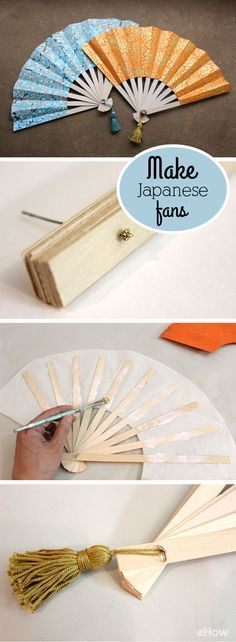 Japanese folding fans, also known as sensu, are as beautiful as they are functional. Fashioned out of decorative paper and wood, you can make your own in just a few simple steps. DIY instructions here:  http://www.ehow.com/how_4449525_make-japanese-fans.html?utm_source=pinterest.com&utm_medium=referral&utm_content=inline&utm_campaign=fanpage