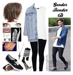 """""""Gender Bender 1D: Louis"""" by jazziwheat ❤ liked on Polyvore featuring Henrik Vibskov, Armani Jeans, Topshop, Pull&Bear, Vans, Bling Jewelry, OneDirection, 1d, louistomlinson and genderbender1d"""