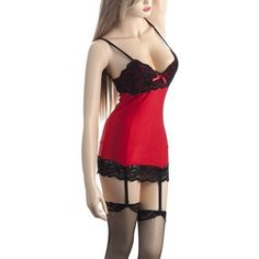48666c2eed2de Buy Lady Women s Lingerie Lace Chemise Dress with Thigh High Stockings  amp