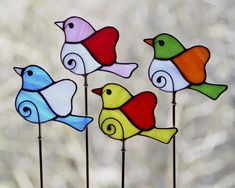 Stained glass ornaments and suncatchers by KamillaArt Stained Glass Ornaments, Stained Glass Birds, Stained Glass Christmas, Stained Glass Suncatchers, Stained Glass Designs, Stained Glass Projects, Stained Glass Patterns, Garden Ornaments, Clear Ornaments