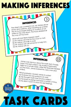 Practice and differentiate for making inferences in 3rd-4th grades with 64 task cards, a spinner game, and 2 worksheets! Main Idea Activities, Inference Activities, Vocabulary Activities, Third Grade Reading, Student Reading, Character Traits Activities, Character Education, Response To Intervention, Reading Response