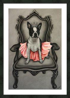 Items similar to Cute princess Boston terrier puppy dog signed art print on Etsy Boston Terriers, Boston Terrier Love, Terrier Puppies, Dogs And Puppies, Boston Terrier Tattoo, Doggies, Boston Art, Stop Dog Barking, Cute Princess