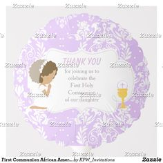 Shop First Communion African American Purple Damask Balloon created by KPW_Invitations. Helium Gas, Photo Balloons, First Communion Invitations, Balloon Shapes, African American Girl, Custom Balloons, First Holy Communion, Invitation Design, Damask