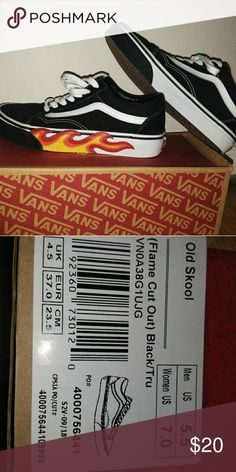 b6231fb341 Shop Women s Vans Black White size 7 Sneakers at a discounted price at  Poshmark. Description  Old school low top vans w  flame.