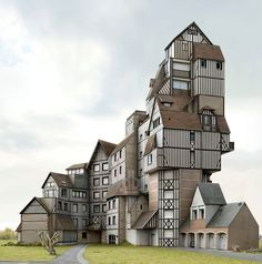Filip Dujardin's Impossible Architecture photo exhibit w/structures he created using a digital collaging technique from photos of real buildings in Belgium Architecture Unique, Architecture Company, Interior Architecture, Interior Design, Pavilion Architecture, Building Architecture, Sustainable Architecture, Residential Architecture, Unusual Buildings