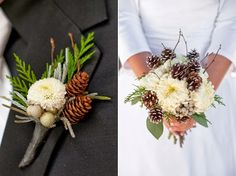 Winter bouquet and Boutonniere #weddings with a different flower for boutonniere