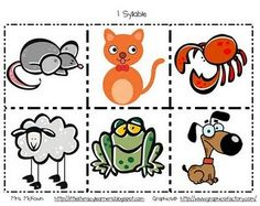Animal Syllable Cards (39 cards, 1-4 syllables)
