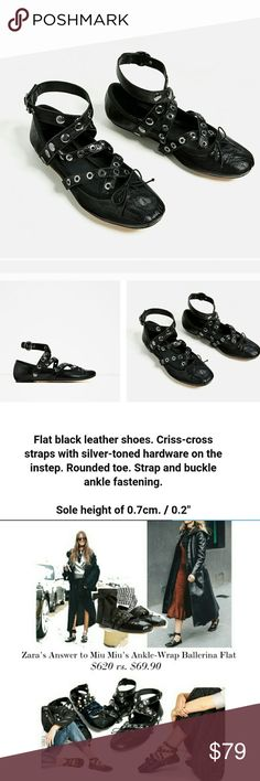 🆕Zara black leather ballerinas Brand new with tags, if you like Miu Miu you will love this shoes❤️ Zara Shoes