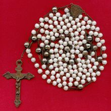 Fantastic Late 1800s 15-Decade Lourdes Pilgrimage Antique Rosary – White Luster Prosser Beads – 159 Grams  //  Offered by Vintage Venerations and More // For more photos and a full description, please visit:   http://www.rubylane.com/item/477743-ROS3102/Fantastic-Late-1800s-15-Decade