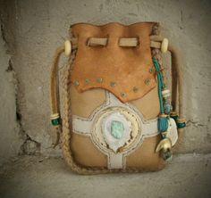 SPIRIT TOTEM medicine bag Spirit Pouch with Deerskin, elkskin, Elk bone, Deer antler, bear. $92.00, via Etsy.