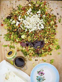 Jools' chopped salad   Vegetables recipes   Jamie Oliver recipes Veggie Recipes Healthy, Vegetable Recipes, Vegetarian Recipes, Kale Recipes, Savoury Recipes, Avocado Recipes, Veggie Food, Veggie Dishes, Healthy Options