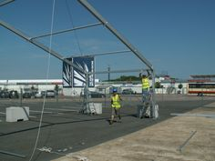 Building the start of a marquee at Silverstone for the  Jubilee weekend's events programme