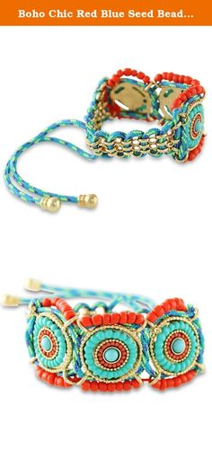 Boho Chic Red Blue Seed Beaded Gold Tone Festival Paracord Bracelet. Whether you're in love with the festival scene or simply enjoy flashing your indie bohemian side from time to time, you're absolutely going to want this fabulous bracelet in your jewelry collection. It features circular mandala patterns of sky blue and orange red beading on textured gold tone bases, with a blue, purple and lime green paracord woven with gold tone links plus orange red seed beads completing the look. This...
