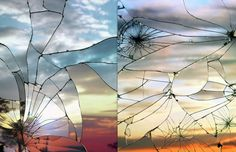 """Here is an amazing series of photographs made by the New York photographer Bing Wright. Entitled """"Broken Mirror"""", this series represents the c Broken Mirror, Colour Pallette, Diy Cleaning Products, Beautiful Moments, Images, Clouds, Sky, In This Moment, Inspiration"""