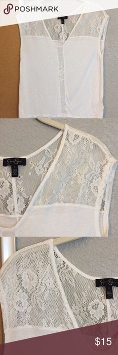 Jessica Simpson white size small lace top Jessica Simpson size small white top with lace shoulders and lace line detail on front Jessica Simpson Tops Tees - Short Sleeve