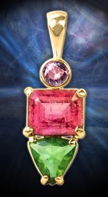 Pendant in 14kt. Gold with Rubellite Tourmaline & Faceted Moldavite Tektite with Natural Purple Zircon