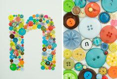 monogram button art *cute idea for baby shower gift