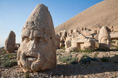 Nemrut Dag in Turkey. It is not entirely sure how old and which civilization the strange statue heads come from
