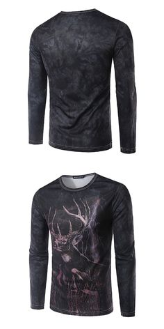 79934a96f335 T-shirt Long Sleeve Men 2017 Men s Fashion Luxury Temperament Antelope  Stereoscopic Printing Round Collar