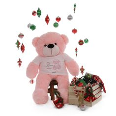 6ft life size customized big teddy bear vanilla cream red heart 4ft my first christmas personalized teddy bear baby pink personalized teddy bearsbaby giftshappy negle Gallery