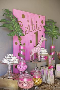 Pink & Gold Safari Glam Birthday Party Ideas | Photo 1 of 17 | Catch My Party