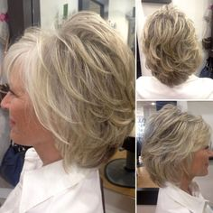 80 Best Modern Hairstyles and Haircuts for Women Over 50 : Medium White Blonde Feathered Hairstyle Medium Short Hair, Short Hair With Bangs, Short Hair With Layers, Short Hair Cuts, Medium Hair Styles, Curly Hair Styles, Modern Haircuts, Modern Hairstyles, Short Bob Hairstyles