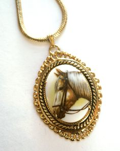 Vintage Horse Necklace Upcycled Palomino by RinnovatoJewelry, $25.00