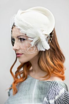 Vintage Style Felt Hat with Birdcage Veil and by MaggieMowbrayHats