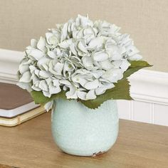Charlton Home Faux Blue Hydrangea in Ceramic Vase
