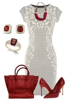 """Sin título #1075"" by marisol-menahem ❤ liked on Polyvore featuring Warehouse, Sergio Rossi and David Yurman"