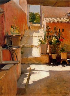 Santiago Rusiñol (Catalan, 1861-1931) Patio, 1892. Oil on canvas.