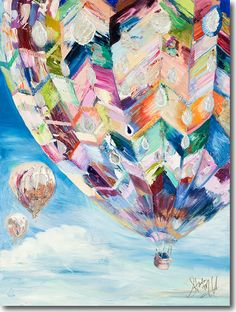Reflections, Starla Halfmann, oil, print, giclee, fine art, bright, hot air balloon