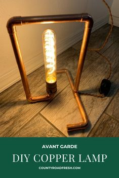 Style up your home with this modern copper lamp that you can make yourself! Don't take your money to the home decor store, go get some supplies! Copper Handles, Copper Lamps, Steampunk Lamp, Light My Fire, Iron Work, Pipe Lamp, Home Decor Store, Recycled Art, Dremel