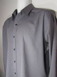 Men Pure DKNY Check Casual Shirt Long Sleeve 100% Cotton sz Large EUC