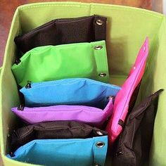Use zip pouches to organize puzzles instead of bulky boxes or anything small for the kids!