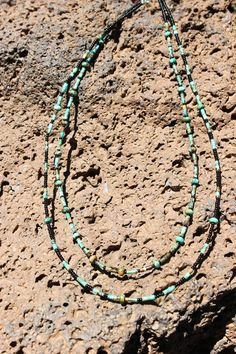 Kingman Turquoise Rondelles and Heishi  Multistrand Necklace with Black Seed Beads by NativeAmericanBling on Etsy