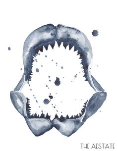 . . Indigo Shark Jaw  Watercolor Print 11 x 14 by THEAESTATE on Etsy . .