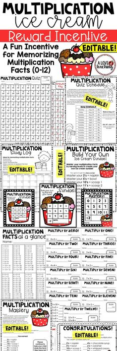 Multiplication Ice Cream Reward Incentive: A Fun Incentive for Memorizing Multiplication Facts (0-12)