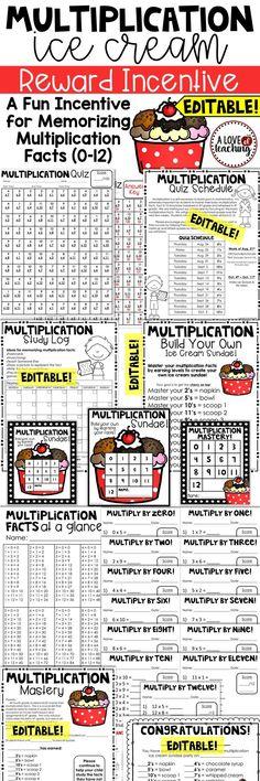 Multiplication Ice Cream Reward Incentive: A Fun Incentive for Memorizing Multiplication Facts (0-12)