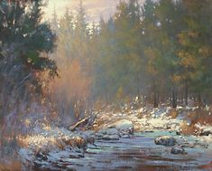 Barbara Jaenicke - Light Dusting Along the Deschutes- Oil - Painting entry - April 2019 Watercolor Landscape, Landscape Paintings, Landscapes, Winter Pastels, Painting Competition, Beauty In Art, Winter Painting, Artwork Images, Online Painting