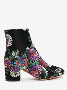 Black Satin Zip Floral Chunky Round Ankle Spring/Fall and Winter Fashion For Ankle Embroidery Flower Boots Black High Boots, Black Ankle Boots, Brown Boots, Heeled Boots, Mens Fashion Shoes, Fashion Boots, Cheap Fashion, Style Fashion, Floral Boots