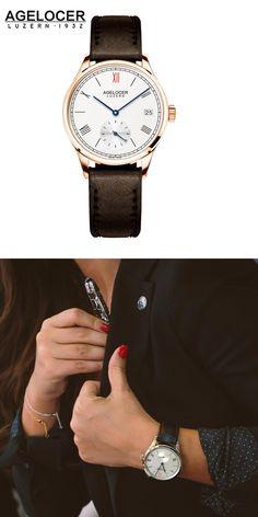 Agelocer Brand Fashion Ladies Watch Women Gold Watch Leather Sapphire Brown 50m Waterproof Mechanical Wristwatch Montre Femme